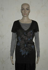 2 Colors With Print Flower & Glitter M&C Knitted Long Sleeve Top Sweater Jumper