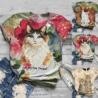 Plus Size Women Short Sleeve 3D Cat Printed O-Neck Top Casual T-Shirt Blouse Cen