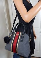 Kate Spade Jackson Street Fabric Lottie Charcoal Wool Black Leather Shoulder Bag