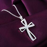 Halskette Zirkonia Kreuz Anhänger Versilbert 925 Silber Geschenk