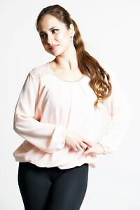 Ladies Pink Chiffon Lace Detail Top With Diamante Detail - One Size