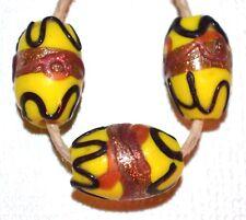 Antique Yellow Venetian Lampwork Italian Glass Wedding Cake Beads, African Trade