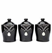 DIAMANTE CERAMIC TEA COFFEE SUGAR CANISTERS JARS STORAGE  ORNAMENT BLACK ROMANY