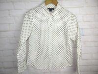 Lands End Girls Button Front Shirt White Size 14 Long Sleeve Collard