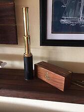 "15"" Handheld Brass Vintage Telescope Leather Pirate Spyglass w Wooden Box"