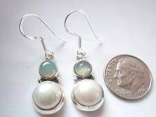 Cultured Pearl and Chalcedony Double Round 925 Sterling Silver Dangle Earrings