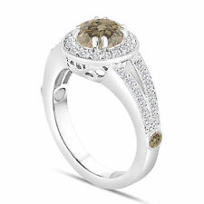 Champagne Fancy Brown Diamond Engagement Ring 1.56 Carat 14K White Gold Handmade