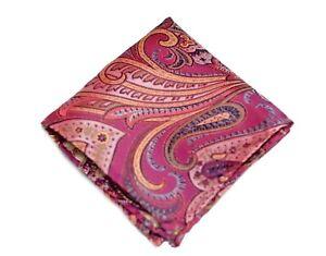 Umberto Algodon Napoli Men's Pink Gold Tapestry Paisley Woven Pocket Square