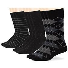 Men's Cotton 9 Pack Dress Business Argyle Dotted Striped Socks Large 9-11 Black