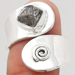 Adjustable - Herkimer Diamond - USA 925 Sterling Silver Ring s.8 Jewelry E650