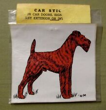Vintage Nos Irish Terrier Dog Car Sticker Decal Sign Walnut Miniatures