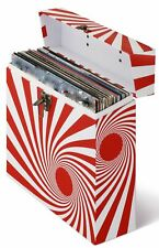 LP Vinyl Record Storage Box And Carrying Case for LPs Albums Swirl Red