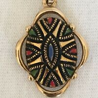 Vintage Signed Sarah Cov Coventry Pendant Gold Tone Black Red Green Blue Oval