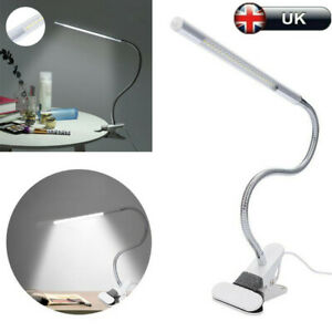 360° Twisted Reading LED Desk Lamp Metal Hose Lamp with Clip USB Table Lamp UK