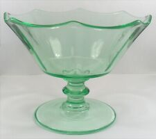 Cambridge Green Vaseline Depression Glass Decagon Pattern Footed Jelly Compote.