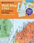 Rand McNally Wall Map 2-Pack U.S. and World Wall Maps + 50 Reusable Stickers