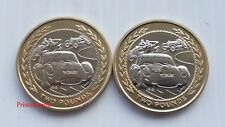 EXTREMELY RARE-1997 ISLE OF MAN RALLY CAR SMALL & LARGE PORTRAIT £2 TWO POUND