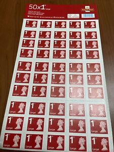 50 x Royal Mail 1st Class Large Postage Stamps. Genuine —-