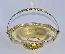 800g 1867 Victorian Gilt Sterling Silver Footed Centrepiece / Bowl Swing Handle