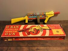 Vintage Marx G-Man Sub-Machine Gun Tin Litho Wind Up Toy & Original Box. NM!