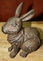 Large Cast Iron Easter BUNNY Garden Statue Yard Art Home Ranch Decor RABBIT