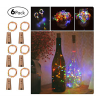 6Pcs 20 LED Wine Bottle Cork Lights Copper Wire String Lights Battery Operated