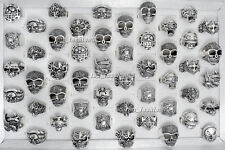 Wholesale 20pcs Lots Big Gothic Skull Carved Biker Men's Anti-Silver Rings Retro
