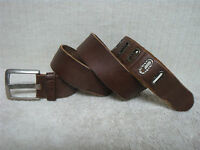 Men's Belt - Brown Leather - Silver Tone Buckle - Size 40