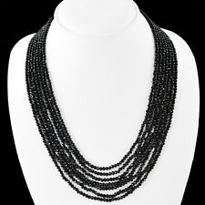 BEST EVER 230.00 CTS NATURAL 7 LINE RICH BLACK SPINEL FACETED BEADS NECKLACE