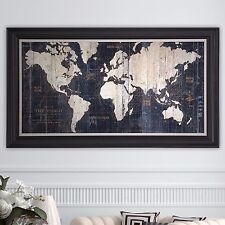 Framed Canvas Painting Gallery Wrapped Graphic Wall Art Sculpture Old World Map