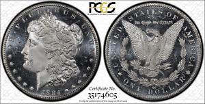 1884-CC $1 Morgan Silver Dollar, PCGS MS 64+ DMPL & CAC Approved