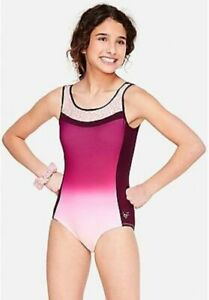 Justice Girl's Pink Ombre Lattice Back Leotard With Hair Scrunchie NWT Size 7