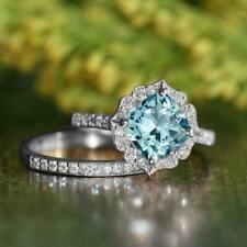 14k White Gold FN 2.50 Ct Cushion Cut Aquamarine Halo Engagement Bridal Ring Set