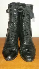 Vintage Victorian Black Leather Lace Up Granny Boots