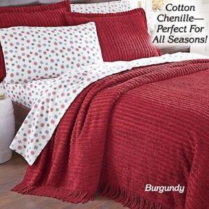 "Chenille Bedspread 100% COTTON Soft Elegant CHIC Coverlet Hem 110"" Choose Size"