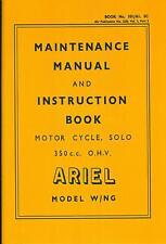 Ariel W NG WD 350 Maintenance Manual and Instruction Book Vintage motorcycle