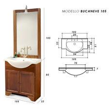MOBILE BAGNO CLASSICO arte povera con lavabo in ceramica, specchio e luce 105 cm