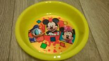 4 x Disney yellow plastic bowls, Mickey Minnie Mouse Donald Duck NEW