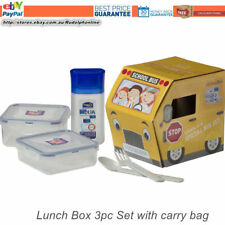 Lock Lock School bus Lunch picnic Box 3pc Set black clear kid lunch bag BPA free