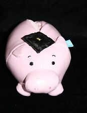 "Hallmark Graduation Pig PIGGY BANK 6"" Pink Vinyl Plush Gift Card Holder Stuffed"