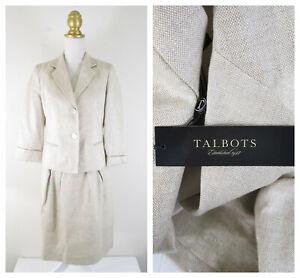 Talbots Beige Linen Metallic Shimmer Skirt Suit Size 6 Formal Career NWOT