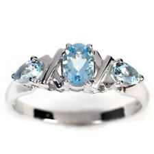 14k White Gold Three Stone Aquamarine Ring #R410