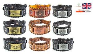 Mens Vintage Black / Brown Norse Viking Leather Bracelet Wristband - 30 Designs