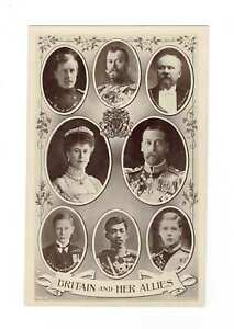 GB. Royalty RPPC Postcard. Britain And Her Allies. WW I.