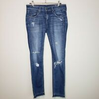 Rag & Bone Dre Boyfriend Jeans Canyon Low Rise Distressed Raw Hem Destroyed