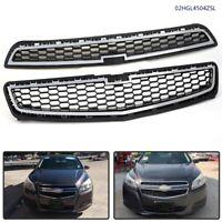 Set of 2pcs Chrome Front Bumper Upper & Lower Grille For 2013 Chevy Malibu LS LT