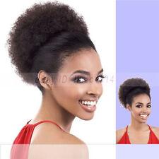 Black Women's Large Hair Buns Afro Kinky Curls Drawstring Ponytail Extensions ~