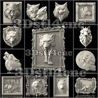 13 3D STL Models Wolf Set for CNC Router Carving Machine Artcam aspire Cut3D