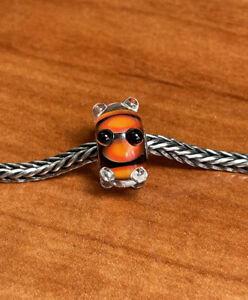 Authentic Trollbeads  Black / Orange  Caterpillar Event Bead RARE HTF NEW!