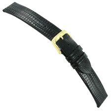 18mm Speidel Black Gator Lizard Grain Genuine Leather Mens Watch Band XL 757 534